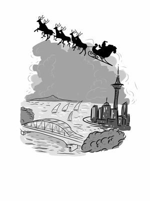 Geoff Popham Twisty Christmas Santa sleigh over Auckland